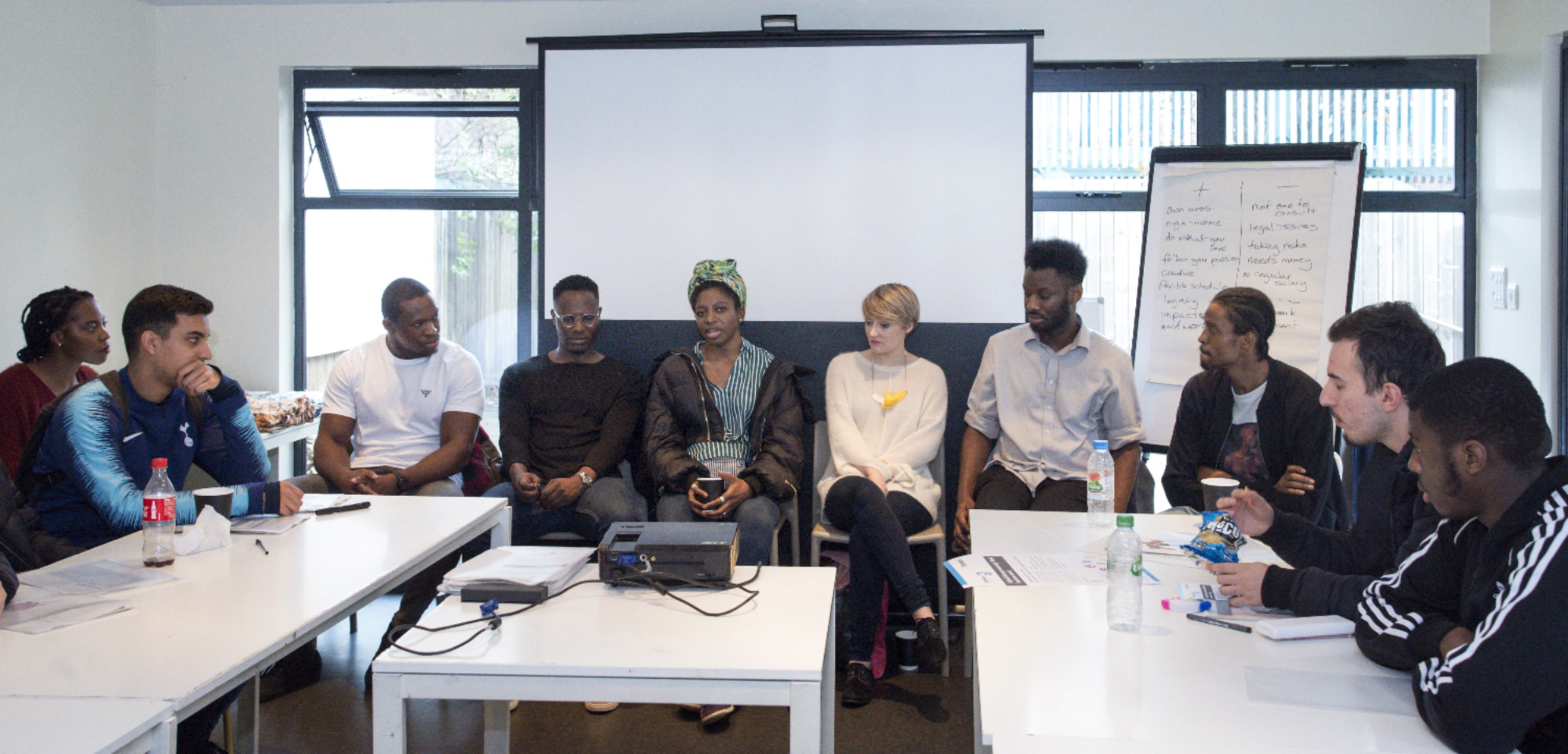 Students in discussion with young entrepreneurs